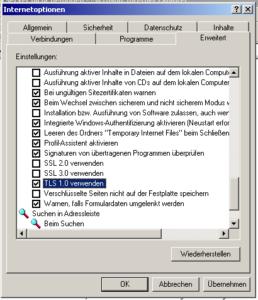 Poodle-Umstellung Internet Explorer 6