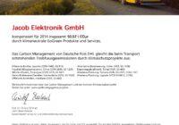 Jacob Elektronik DHL GoGreen Zertifikat